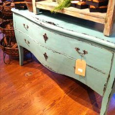 arhaus teal bombe chest with natural wood top - Google Search
