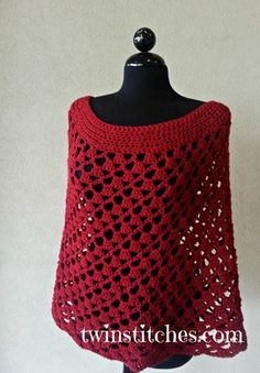 Scarlett Red Spiral Crochet Poncho ~ This would make a great Valentine's Day gift for a bff. Worked in the round,  really easy.