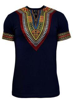 Men's African Print Dashiki T-Shirt (Navy) African Fashion Designers, African Print Fashion, Africa Fashion, African Fashion Dresses, African Outfits, African Clothes, Hipster Outfits Men, Fashion Outfits, Fashion Styles