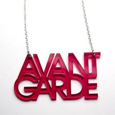 Avant-Garde Necklace   avant garde typography acrylic necklace red by plastique on Etsy