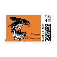#stylish - #halloween fashion illustration with raven postage