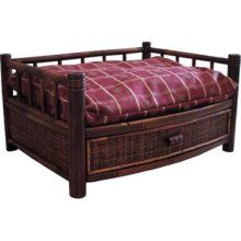 fancy dog bed, you can store dog supplies in the drawer! | Merry Pet Products MPB001-S Tropical Island Bamboo Pet Bed  $70