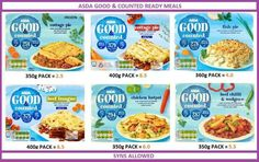 Asda good & counted ready meals slimming world ready meals, asda slimming world, slimming Slimming World Ready Meals, Asda Slimming World, Slimming World Syn Values, Slimming World Tips, Wrap Recipes, Low Carb Recipes, Cooking Recipes, Healthy Recipes, Weight Watchers Ready Meals
