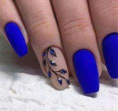 Acrylic Nail Art 609815605777108675 - 40 Trendy 2019 Dark Blue Nail Art Designs Check more at nail. Square Acrylic Nails, Cute Acrylic Nails, Matte Nails, My Nails, Square Nails, Hair And Nails, Blue Nail Designs, Acrylic Nail Designs, Blue Nails With Design