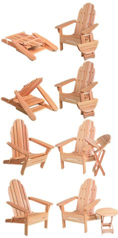 Folding Adirondack Chairs, Table