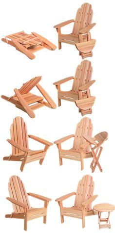 Folding Adirondack Chairs, Table