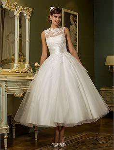 vestido de uma linha de jóia do tornozelo-comprimento de tule casamento (788859) - BRL R$ 259,82