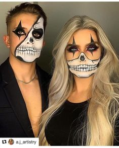 created this look and featured a touch of Hemway Ultra Sparkle Glitter on the lips! Maquillage Halloween Clown, Halloween Skull Makeup, Amazing Halloween Makeup, Halloween Eyes, Clown Makeup, Halloween Makeup Looks, Halloween 2020, Halloween Make Up Ideas, Skull Face Makeup