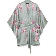 MENG Floral-print silk-satin kimono (€510) ❤ liked on Polyvore featuring intimates, robes, floral, gray green, floral kimono robe, grey camisole, green kimono, floral cami and floral kimono