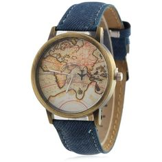 Faux Leather Map Quartz Watch ($6.06) ❤ liked on Polyvore featuring jewelry, watches, vegan jewelry, quartz watches, quartz jewelry, quartz wrist watch and vegan watches