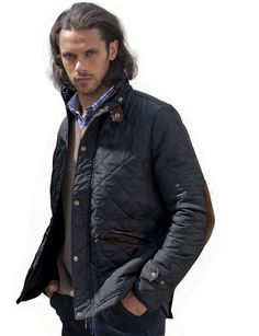 Vince Camuto Men S Quilted Jacket With Plaid Yoke Navy