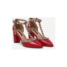 SheIn(sheinside) Red Pointed Out T-strap Studded Chunky Pumps (€32) ❤ liked on Polyvore featuring shoes, pumps, red t strap pumps, red platform pumps, red platform shoes, chunky-heel pumps and high heel pumps