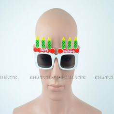 """Novelty """"Happy Birthday"""" glasses with added candles. Novelty Sunglasses, Cool Glasses, White Candles, Party Accessories, Some Fun, Fancy Dress, Happy Birthday, Whimsical Dress, Happy Brithday"""