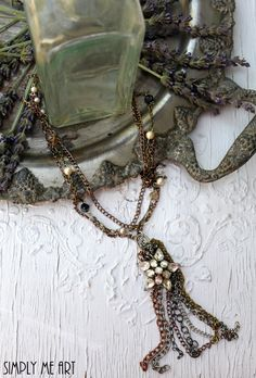 Vintage Rhinestone, Glass Bead and Pearl One of a Kind Necklace... Glitzy Three