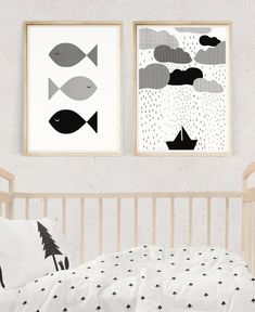 NAUTICAL NURSERY SET, Black and White Prints, Nursery Wall Art, Baby Room Decor, Fish and Boat Print, Kids Poster, Digital Download