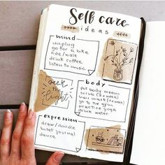 Have you tried these self-care bullet journal ideas yet? Self-love and self care is NOT selfish, its essential ALWAYs. This post is an inspirational list of mental health bullet journal layouts includ Bullet Journal Inspo, Bullet Journal Doodles, Minimalist Bullet Journal, Self Care Bullet Journal, Bullet Journal 2020, Bullet Journal Notebook, Bullet Journal Aesthetic, Bullet Journal Themes, Bullet Journal Spread