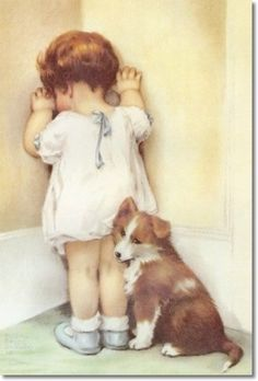 """In Disgrace,"" print #792 July 13, 1935.  Using her daughter Lucille and the neighbor's little collie dog ""Teddy"" as models, Bessie completed the painting, which has been recognized as an art classic. Words were not required to explain the picture and it became popular throughout the world."
