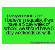 5 day weekends!!!!