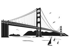 The Highest Quality Stencils at the Best Prices Bumblebee Drawing, San Francisco Tattoo, City Outline, Bridge Tattoo, Bridge Drawing, San Francisco California, Amazing Drawings, Black And White Drawing, Illustrations And Posters