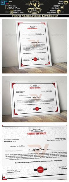 Multipurpose Certificates Psd templates, Certificate design and - Corporate Certificate Template