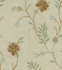 Upholstery Fabric-Williamsburg Lyndhurst Embroidery/Glacier