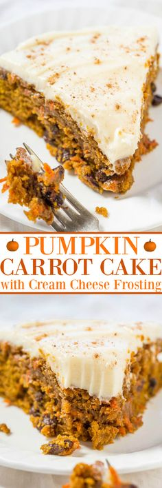 Pumpkin Carrot Cake (+ Cream Cheese Frosting!) - Averie Cooks Fall Desserts, Just Desserts, Delicious Desserts, Yummy Food, Thanksgiving Desserts, Frosting Recipes, Cake Recipes, Dessert Recipes, Dessert Ideas