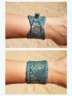 Diy Fabric Jewellery, Textile Jewelry, Beaded Jewelry, Fabric Bracelets, Embroidery Bracelets, Bracelet Crochet, Handmade Jewelry Designs, Bijoux Diy, Diy Necklace