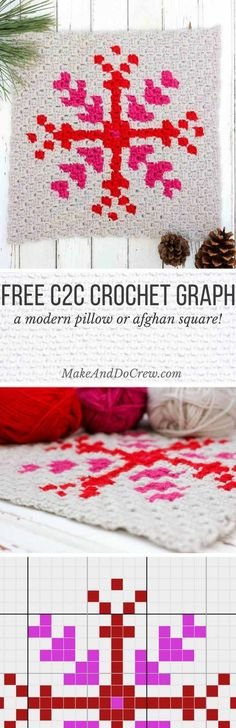 This free c2c crochet pattern makes a modern, monochromatic snowflake. Crochet several for a bright, happy winter afghan or check out the rest of the Christmas corner-to-corner graphs to make a sampler afghan. Either way, your family will love pulling it out to snuggle under each Winter.