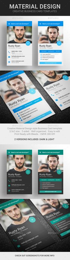 MaDe - Material Design Business Card Template #design Download: http://graphicriver.net/item/made-material-design-business-card-template/10425686?ref=ksioks
