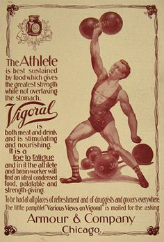 1898 Armour Vigoral Beverage for Strength Ad ~ Weightlifter