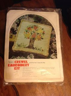 """Vintage Crewel Embroidery Kit Pear Tree 14"""" Square Box Pillow New #Sears"""