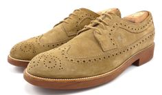 Tod's Mens Shoes 10, 11 US Suede Wingtip Oxfords Light Brown
