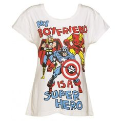 Ladies Vintage White Marvel Comics My Boyfriend Is A Superhero T-Shirt from Fabric Flavours featuring polyvore, fashion, clothing, tops, t-shirts, shirts, boyfriend tank top, shirts & tops, off white shirt, boyfriend tops and off white tops