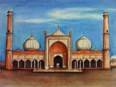 Water Color on Paper a3 Masjid Jami India