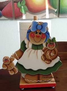 Handpainted Gingerbread Paper Towel Holder by stephskeepsakes