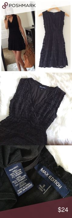 Lace Dress Beautiful black dress by max edition. Lined, v neckline like a wrap, size small.good condition, no issues🎀 bundle and save🎀 max edition Dresses Mini