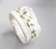 beaded fabric bracelet /  bohemian summer bracelet / boho cuff /  ooak eco friendly jewelry on Etsy, $24.00
