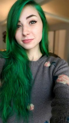 My green hair! mixed Electric Lizard by Manic Panic and Aqua by Ion Color Brights