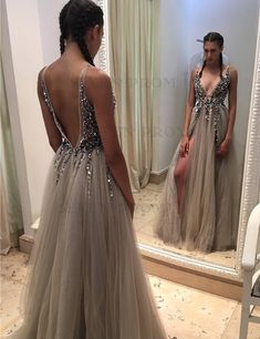 Deep V-neck Beading Sleeveless Silver Prom Dress with Split Backless Evening Dress Cheap Short Prom Dresses, Backless Prom Dresses, Black Prom Dresses, A Line Prom Dresses, Prom Dresses Online, Evening Dresses, Homecoming Dress Stores, 2 Piece Prom Dress