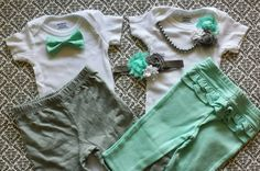 Boy Girl TWIN Outfits  0-3 Months Newborn by LeopardLaceLove
