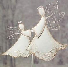 Angelic Embossed White Angels Decorating Outdoor Yard Sticks-Forever an Angel, Forever a Dream . Bring this love to your holiday decor with these whimsical angelic ivory metal angels. Christmas Clay, Christmas Angels, Christmas Tree Ornaments, Christmas Decorations, Clay Ornaments, Angel Ornaments, Wire Crafts, Holiday Crafts, Pottery Angels