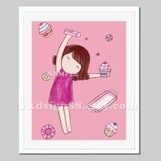 Kids room art, nursery art, girls wall art, nursery wall by rkdsign88.com