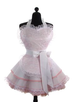 """Pin Up Apron """"Sexy Pink and White French Maid"""" Double Skirt Sweetheart Full Apron // Costume Apron with Bridal Lace"""