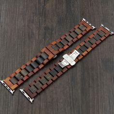 HAVERN Minimalist Mens Sandalwood and Ebony Wooden Apple Watch Band