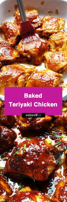 Teriyaki Chicken - - An easy chicken dinner baked in the oven with a sticky homemade teriyaki sauce. - byBaked Teriyaki Chicken - - An easy chicken dinner baked in the oven with a sticky homemade teriyaki sauce. Chicken Thights Recipes, Baked Chicken Recipes, Meat Recipes, Asian Recipes, Cooking Recipes, Recipe Chicken, Freezer Cooking, Freezer Meals, Cooking Tips