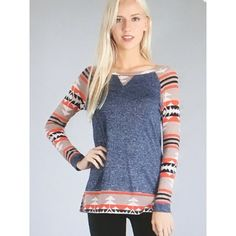 Women's Aztec Print Long Sleeve Top (57 BAM) ❤ liked on Polyvore featuring tops, aztec shirts, extra long sleeve shirts, aztec top, aztec pattern shirt and aztec print shirt