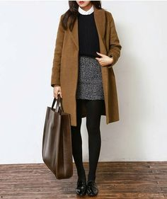 /roressclothes/ closet ideas fashion outfit style apparel Camel Coat and Black Basic Skirt with tights winter work wear # Casual Outfits office tans 30 Ideas to Wear Your Camel Coats Petite Outfits, Mode Outfits, Fall Outfits, Fashion Outfits, Womens Fashion, Fashion Ideas, Latest Outfits, Trendy Fashion, Stylish Outfits
