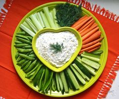 Fiesta® Heart Bowl and Baking Tray are a great way to serve Veggies & Dip