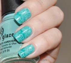 New idea - stamping nail polish (like a rubber stamp!) Subtle turquoise stamping