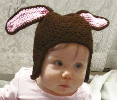 Bunny Hat Crochet Pattern PDF 441 by SandysCapeCodOrig on Etsy, $4.95